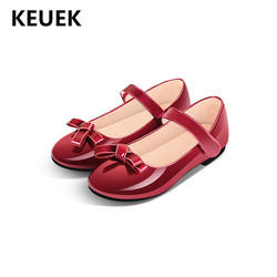 New Children Butterfly-knot Shoes Girls Black Red Pink British style performance Princess Leather Shoes Student Baby Toddler 018