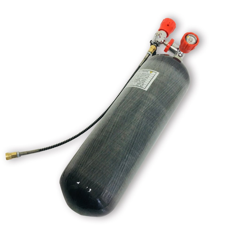 AC168101 6.8L Scuba Diving Tank High Pressure Cylinder Aqualung Dive Paintball Tank Composite With Red Valve And Filling Station