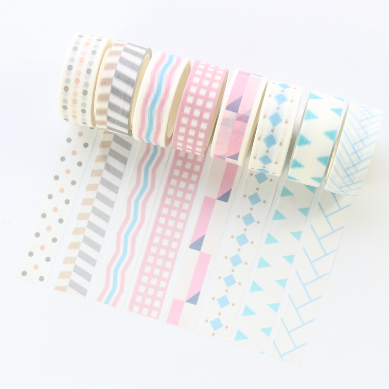 Domikee New Candy Basic School Student Decoration Washi Tapes Stationery,fine DIY Decorative Masking Tapes For Children,15mm*5m