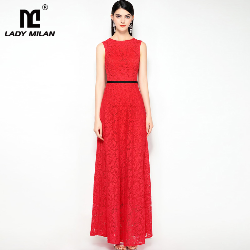 2018 Ladies O Neck Sleeveless Embroidery Lace Sexy Low V Back Fashion Long Prom Party Dresses