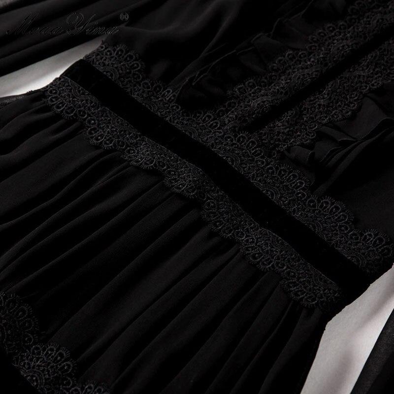 MoaaYina Fashion Designer robe printemps femmes lanterne manches dentelle ruché épissé décontracté élégant fête en mousseline de soie Maxi Slim robes - 5