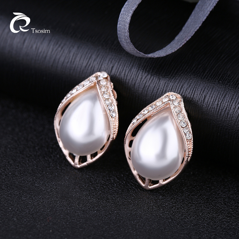 Classic Water Drop Pearl Clip On Earrings Charm For Women Luxury Crystal Clip Earrings Bridal Party Wedding Jewelry Brincos in Clip Earrings from Jewelry Accessories