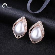 Classic Water Drop Pearl Clip On Earrings Charm For Women Luxury Crystal Bridal Party Wedding Jewelry Brincos