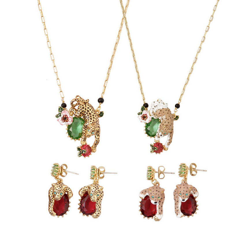 France Les Nereides Leopard Red Green Gem Earrings For Women Brand Party Jewelry Good Gift Luxury