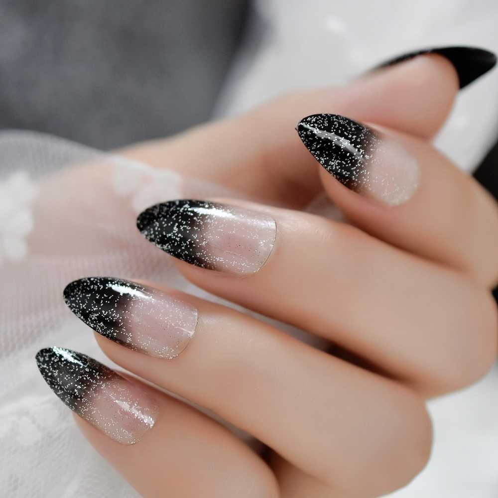 Black Ombre French Nails Sharp Ending Acrylic Nail Tips Glitter Gel Cover  Gradient Pointed Nails False with Adhesive Tabs