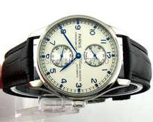 Moda reloj de esfera blanca 43mm PARNIS energía muestra que los hombres mecánicos automáticos del reloj relojes Clásicos