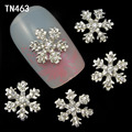 10 unids aleación 3D Nail Art Stickers copos de nieve blancos brillo de uñas de Gel herramientas de bricolaje Rhinestone y decoración TN463