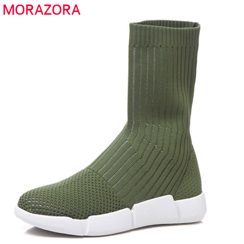 MORAZORA 2018 newest fashion female shoes round toe spring autumn ankle boots slip on sock boots comfortable casual shoes black miwind fashion women backpack college style pu leather women school backpack vintage women shoulder bag girls schoolbag tbb661