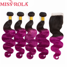 Miss Rola Hair Ombre Peruvian Body Wave Hair 1B Purple Human Hair Weave 4 Bundles with