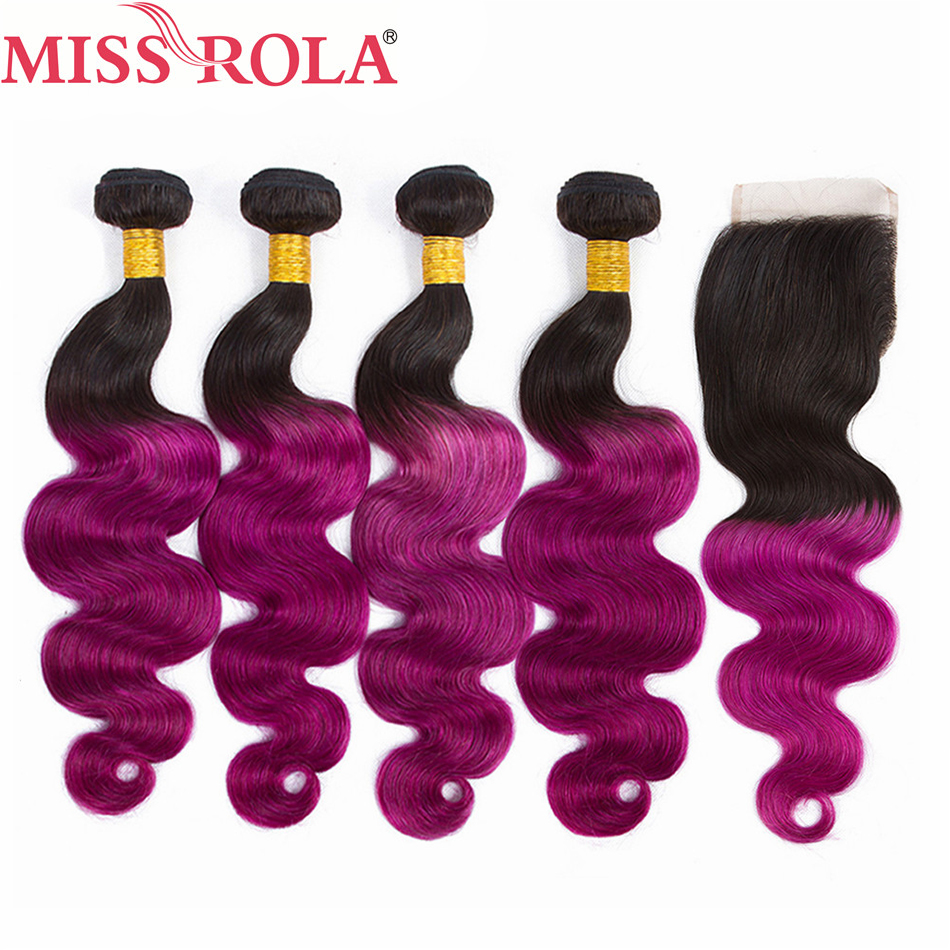 Miss Rola Hair Ombre Peruvian Body Wave Hair #1B/Purple Human Hair Weave 4 Bundles with Closure Hair Extension Non-Remy