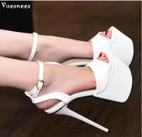 Shoes women 2018 new Europe and the United States catwalk club patent leather high heel sexy sandals heels 17 cm heels catwalk s