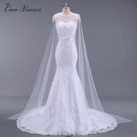 C V Vestidos De Noiva Vestido De Casamento See Through Mermaid Wedding Dresses Sash Beaded Bride