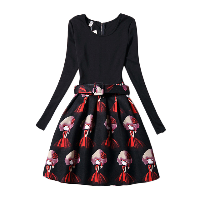 Mother Daughter Dress 2016 New Fahsion Family Match Look Dresses Black Cartoon Print Long Sleeve Vestidos 6-12 Years S-XXL GD100