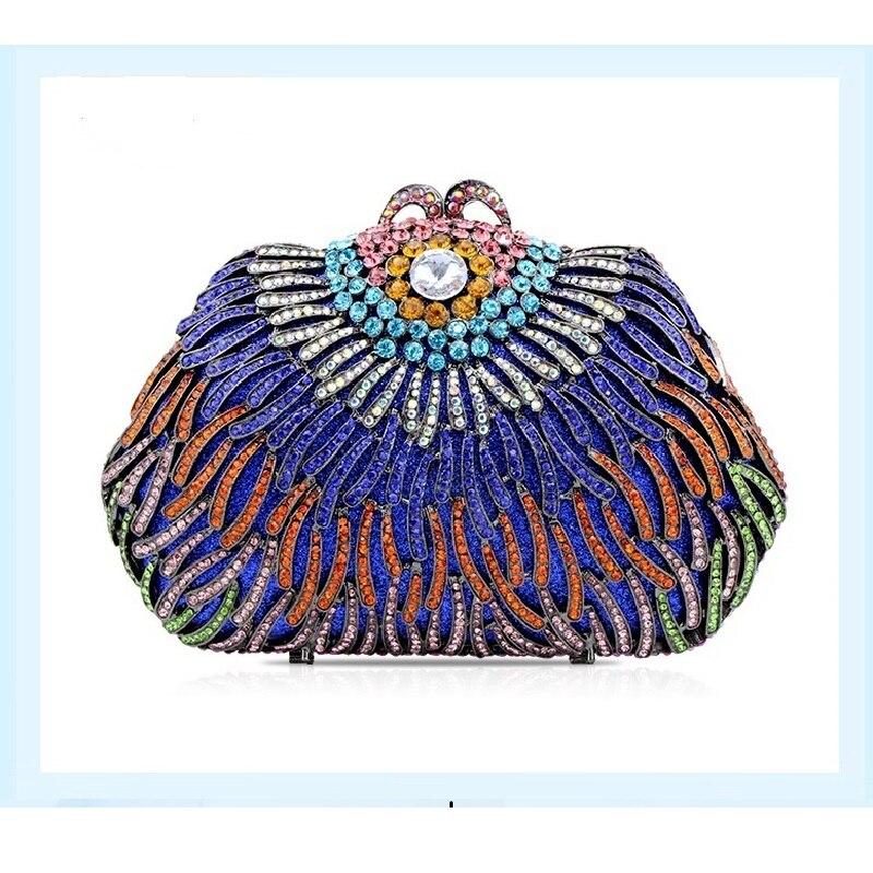 ФОТО 8375 color-C Crystal Wedding Floral Flower Bridal Party Night  hollow Metal Evening purse clutch bag handbag