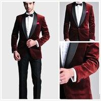 Burgundy Velvet Slim Fit Groom Tuxedos Wedding Suits Custom Made Groomsmen Best Man Prom Suits Black