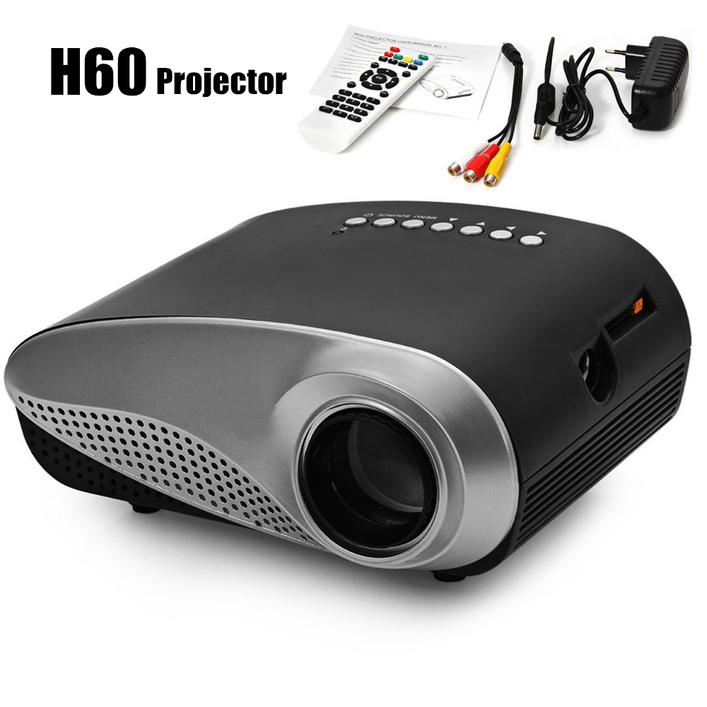 H60 Mini LCD Projector 60 Lumens 480x320 16:9 Aspect Ratio Portable Projectors for Home Theater Cinema Proyector with EU Plug wholesale projector lcd set lcd prism l3d05x 86g10 l3d05x 86g00 for e pson projectors