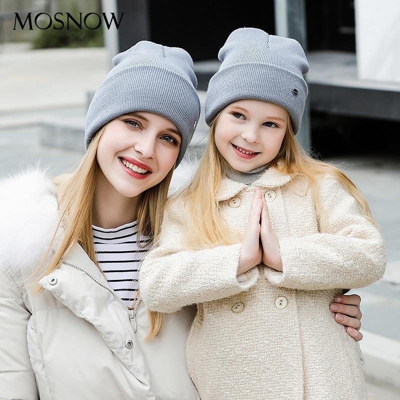 Winter Hats Bonnet Child Brand-New Skullies Knitted Female Cotton Fashion Parent -Mz238e
