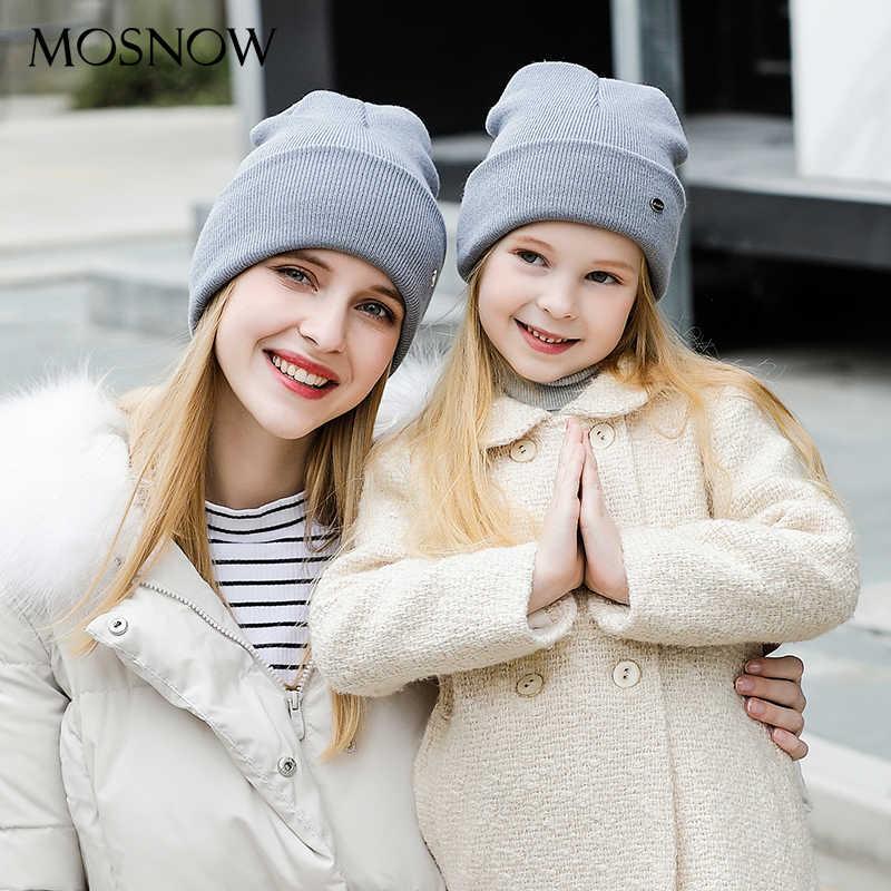 Winter Hoeden Ouder Kind Katoen Mode Hoge Kwaliteit 2019 Gebreide Merk Nieuwe Kinderen Hoed Vrouwelijke Skullies Bonnet # MZ238E