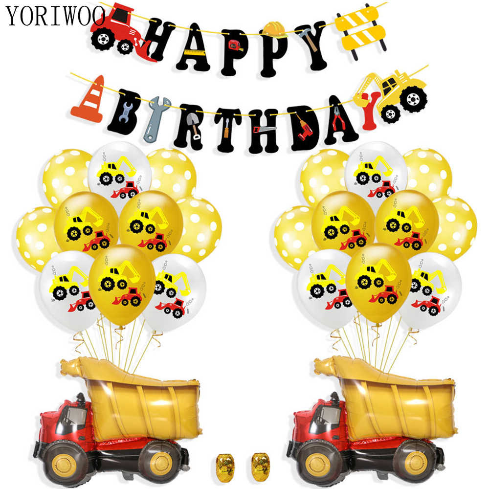 YORIWOO Cartoon Air Balloons Cars Fire Truck Balloon Confetti Baloons Children Birthday Party Decorations Kids Baby Shower Boy