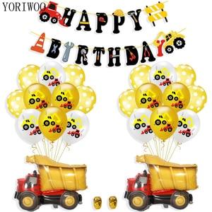 YORIWOO Cartoon Air Balloons Cars Fire Truck Balloon Confetti Baloons Children Birthday Party Decorations Kids Baby Shower Boy(China)