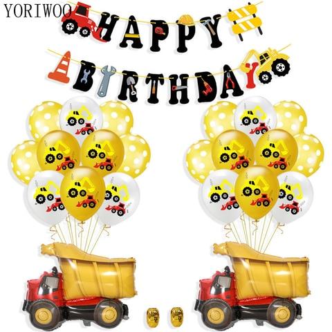 YORIWOO Cartoon Air Balloons Cars Fire Truck Balloon Confetti Baloons Children Birthday Party Decorations Kids Baby Shower Boy Pakistan