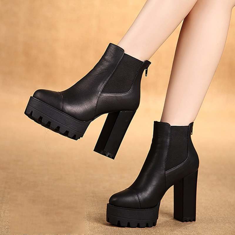 2015 Winter New Heavy-bottomed Chunky Heels Black Round Toe Zipper Fashion Boots Pumps Booties
