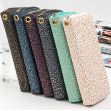 Retro Women leather wristlet long Wallet Clutch gilding pattern female phone purse lady cash coin Purse Card holder femme Bolsos