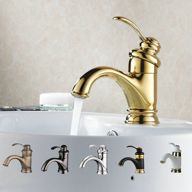 Us 35 53 30 Off Antique Gold Black Silver Basin Faucet Polish Br Tap Bathroom Sink Mixer Small Bend In Faucets From
