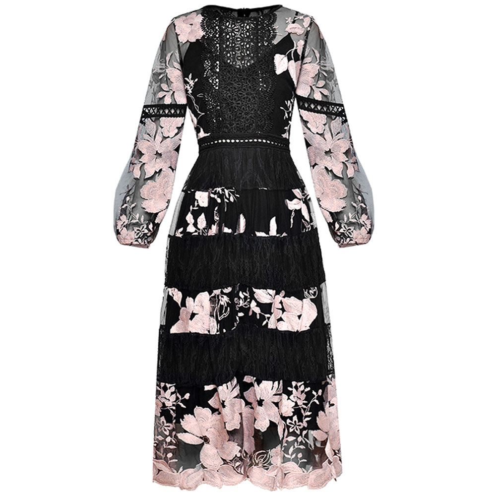 LRed RoosaRosee ace Patchwork Perspective Embroidery Retro Long Lantern Sleeve Midi Dress Summer 2019 Women s