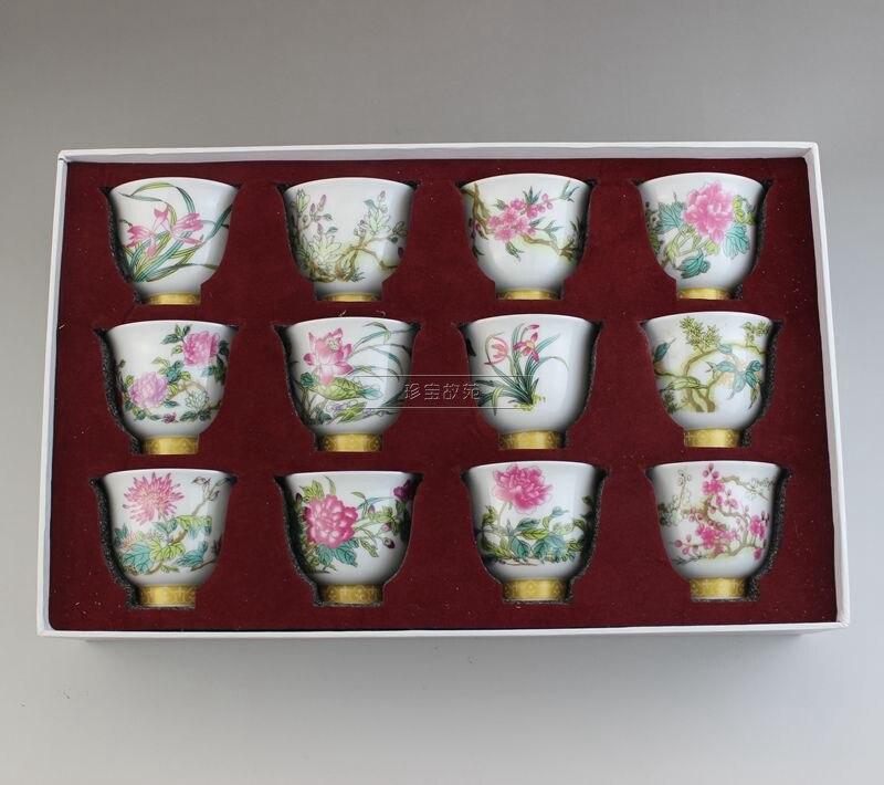 Chine ancienne porcelaine colorée dessin thé tasse vin tasse douze fleur dieu tasse