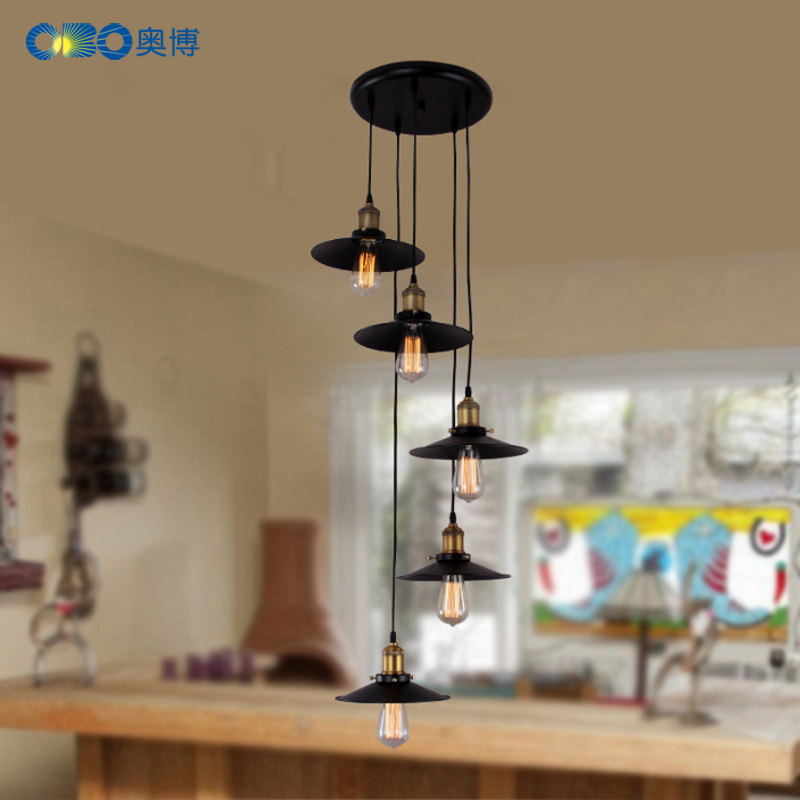black vintage industrial pendant light nordic retro lights iron lampshade loft edison lamp metal cage dining room Countryside black iron bird cage big size lampshade pendant light e27 ac110v 220v industrial edison pendant lamp retro loft lighting