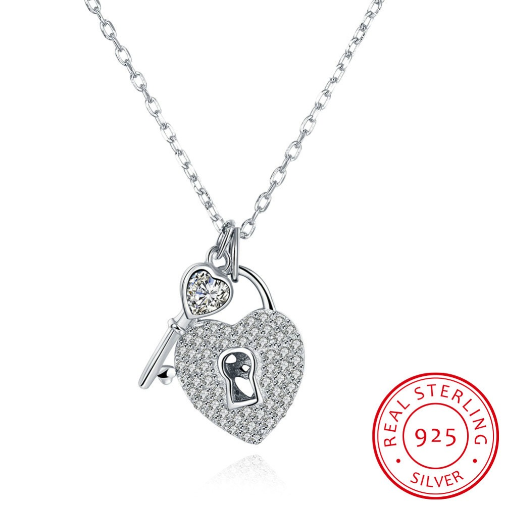 Top Fashion Jewelery 100% Sterling Silver 925 Key Zircon Necklace fit Original Premium L ...
