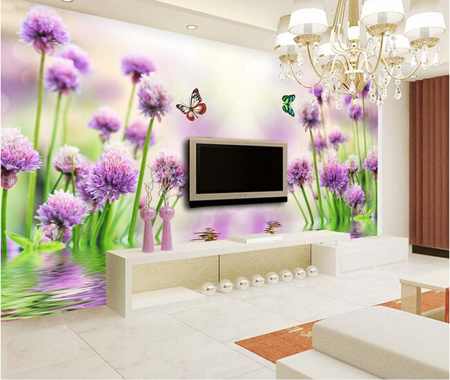 3D wallpaper custom mural non-woven wall paper Purple flower reflection TV setting wall painting photo wallpaper for walls 3d 3d wallpaper custom mural non woven wall sticker black and white wood road snow tv setting wall painting photo wallpaper for 3d