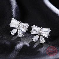 100 Real Pure 925 Sterling Silver Jewelry Butterfly Fine Earrings Jewelry For Women Party Gifts Free