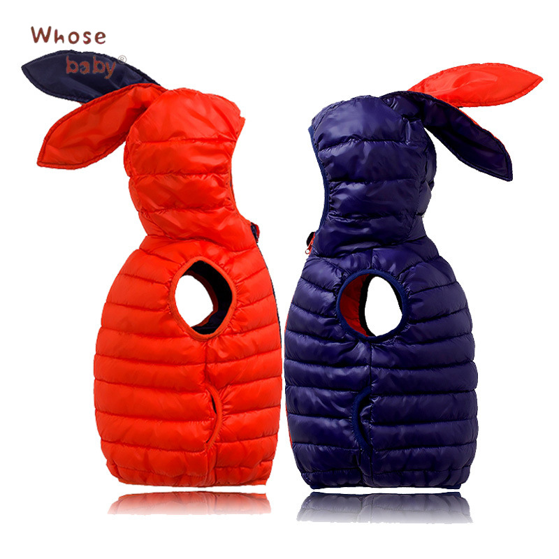 2017 Winter Girls Boys Hooded Down Jacket Sweet Kids Outwear With Ear Fashion Warm Snowsuit Clothes Toddler Children Clothing