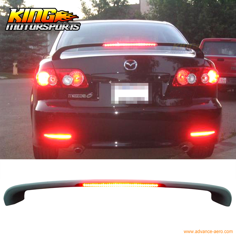 ФОТО For 03-08 Mazda 6 4DR Hatchback OE Trunk Spoiler ABS LED 3rd Brake Light