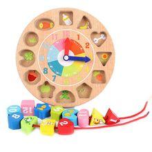 Children'S Intellectual Power Wooden Digital Animal Wearing Rope Toy Beaded Game Creative Clock Building Blocks Digital Geomet
