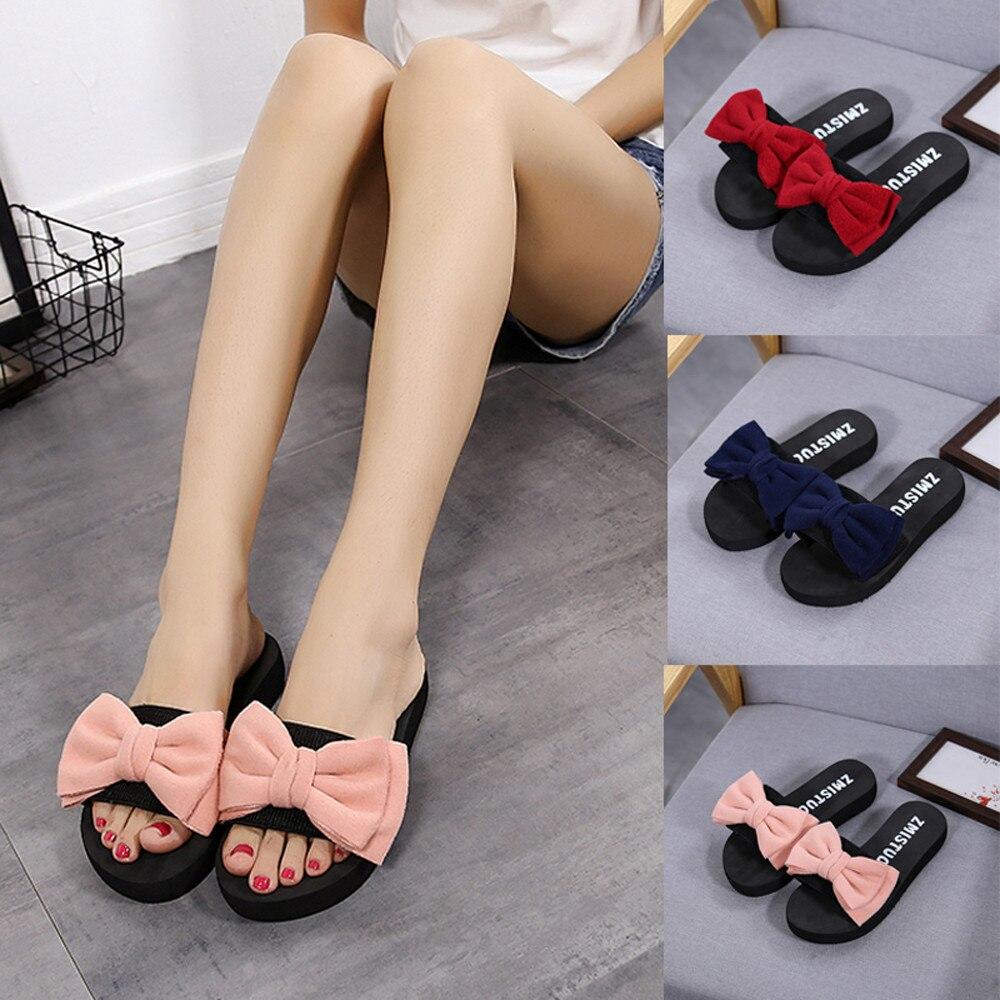 Slippers Women Summer Bow Summer Sandals Slipper Indoor Outdoor Linen Flip-flops Beach Shoes Female Fashion Floral Shoes #N