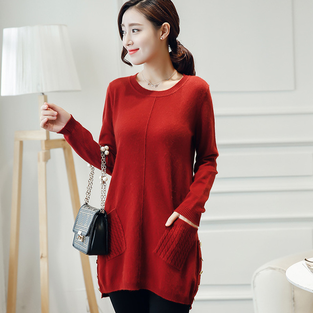 100% cashmere sweaters and pullover for women 2016 winter New o neck long sweater Hot Sale tops pure wool knitted clothes