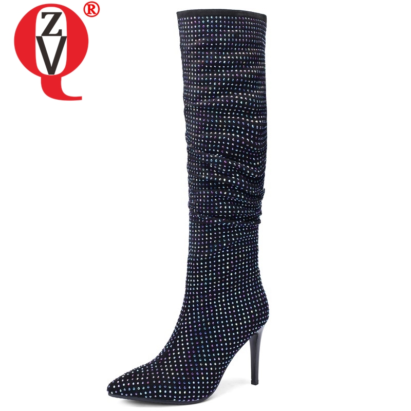 ZVQ 2018 new super high thin heels pointed toe crystal decoration winter zip knee high boots fashion elegant party women shoesZVQ 2018 new super high thin heels pointed toe crystal decoration winter zip knee high boots fashion elegant party women shoes