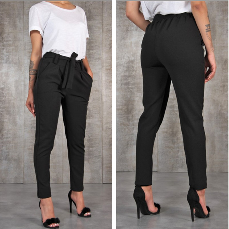 Borntogirl Casual Slim Chiffon Thin Pants For Women High Waist Black Khaki Green Pants #2