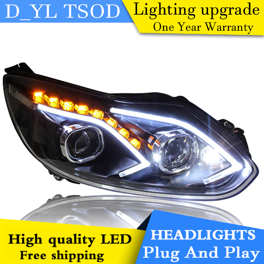 Car Styling for Ford Focus Headlights 2012-2014 LED Headlight for Focus Head Lamp LED Daytime Running Light LED DRL Bi-Xenon HID