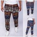 Новый Бренд 2016 Мужские Ретро Хлопок Белье Мужчины Шаровары Случайные плюс Размер Брюки Брюки Мужчины Hip Hop Цветочный Цветок Печатных брюки