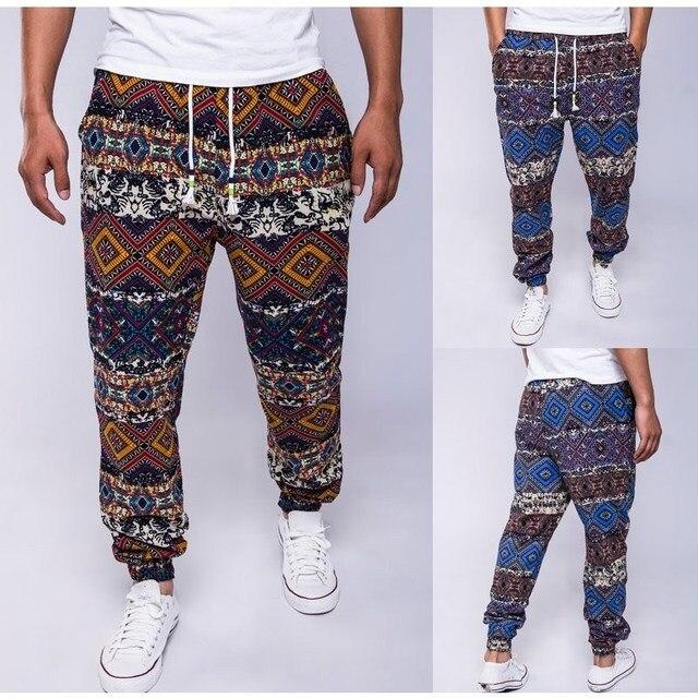 New Brand 2016 Mens Retro Cotton Linen Men Harem Casual Plus Size Pants Trousers Males Hip Hop Floral Flower Printed Pants