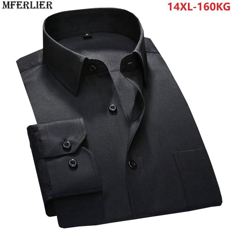 men large size shirts 8XL formal Long sleeve autumn 6XL 7XL 9XL 10XL business shirts 12XL 14XL office dress shirt cotton blue