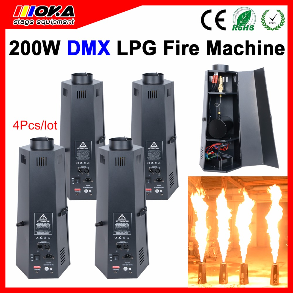 4 units Spray LPG Fire Machine DMX Wire Control Stage effect Liquefied Petroleum Gas Flame Machine Projector