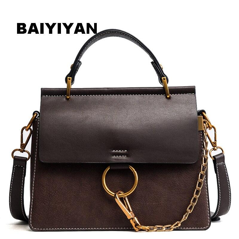 2018 New Circle Chain high quality fashion handbag women's single shoulder bag PU Leather messenger bag Vintage tote bag