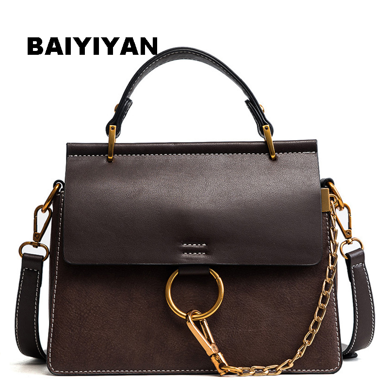2018 New Circle Chain high quality fashion handbag women's single shoulder bag PU Leather messenger bag Vintage tote bag