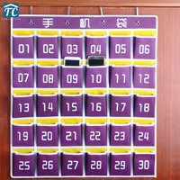 65*85CM Beautiful 30 Grid Cell Hanging Phone Bag Student Dormitory Mobile Phone Storage Box Thick Non woven Fabric|Storage Boxes & Bins|Home & Garden -