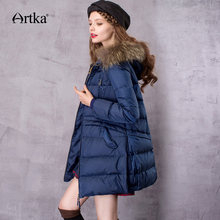 Artka ZK11669D 女性のミドルダウンコートとアライグマの毛皮のフード ダウンパーカー女性ロング冬フグジャケット